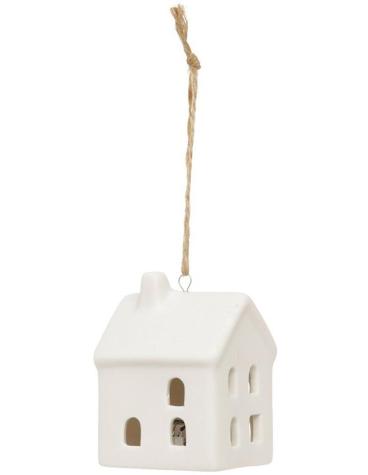 Eucalyptus Ceramic House LED Hanging Ornament - White 8 cm image 1