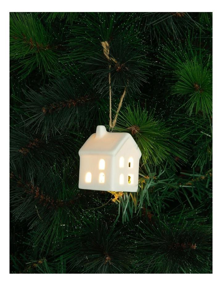 Eucalyptus Ceramic House LED Hanging Ornament - White 8 cm image 2