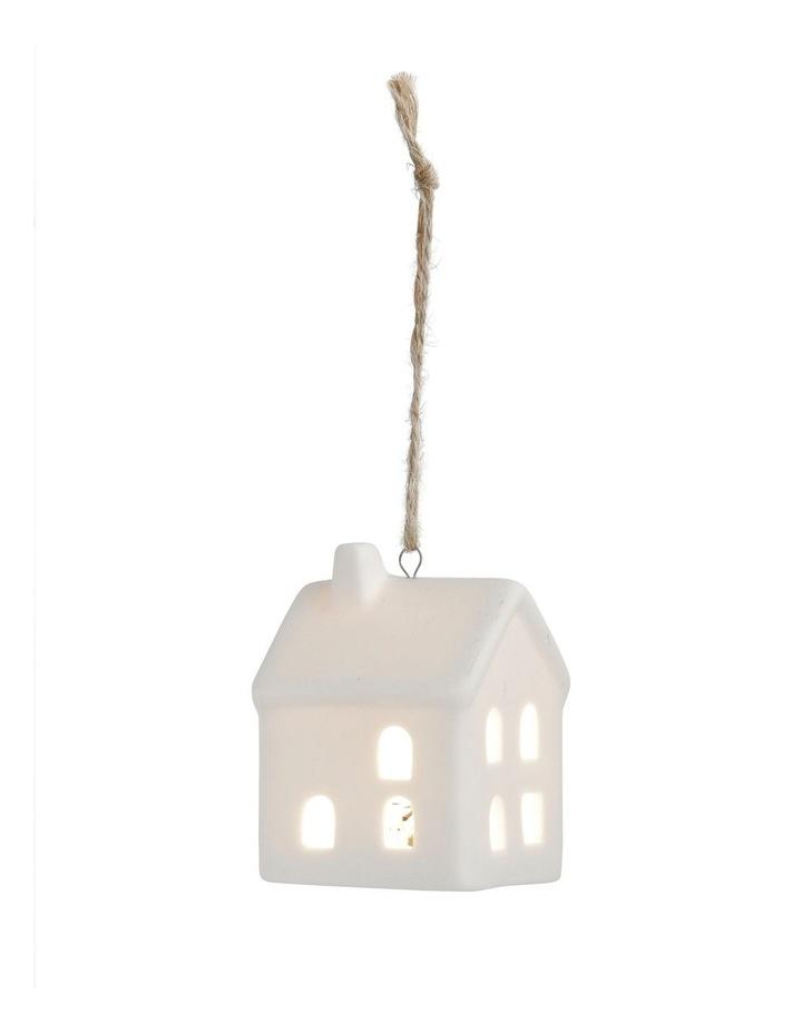 Eucalyptus Ceramic House LED Hanging Ornament - White 8 cm image 3
