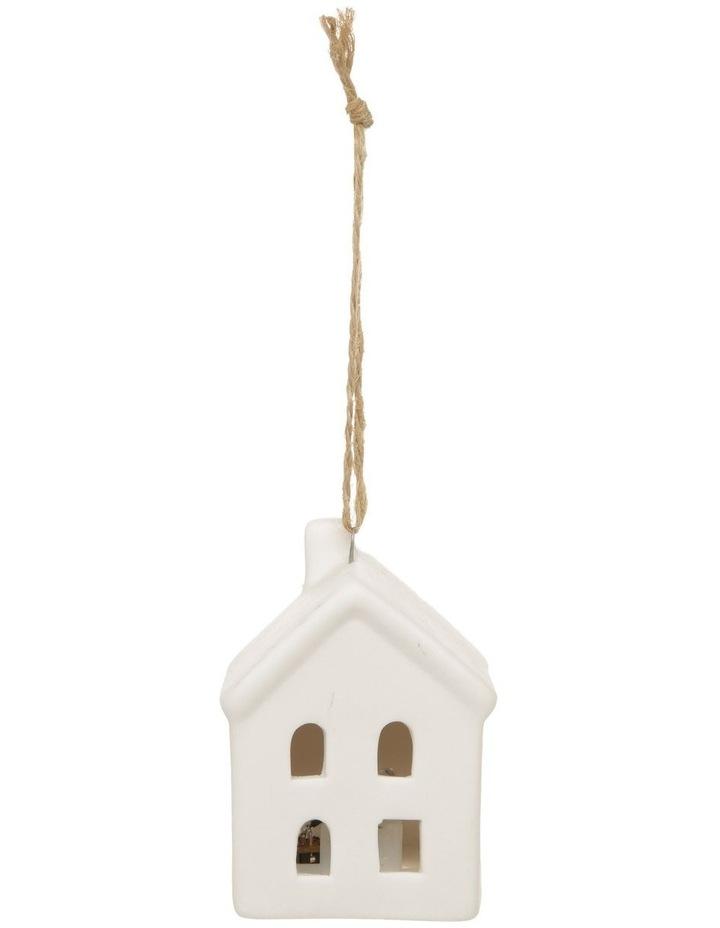 Eucalyptus Ceramic House LED Hanging Ornament - White 8 cm image 4