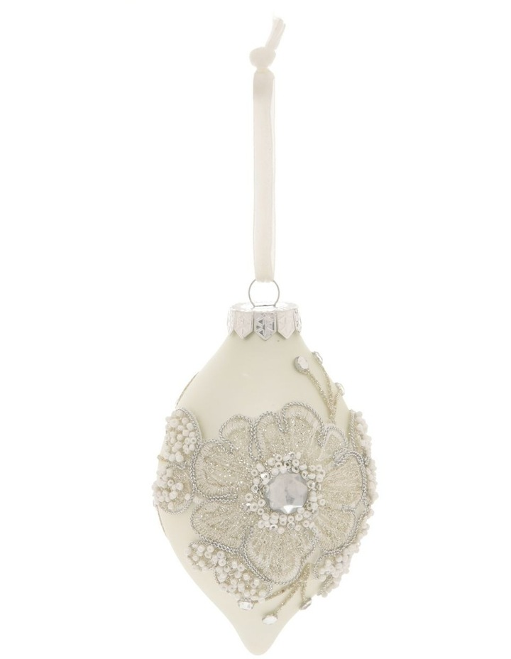 Luxe Glass Lace Flower Finial Hanging Ornament - White 10 cm image 1