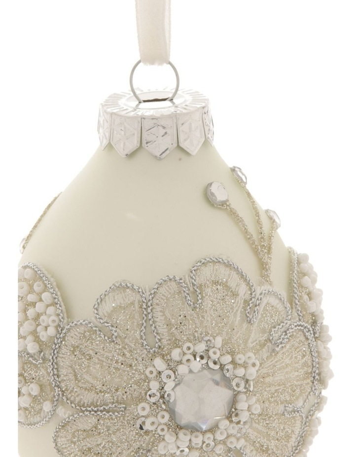Luxe Glass Lace Flower Finial Hanging Ornament - White 10 cm image 2