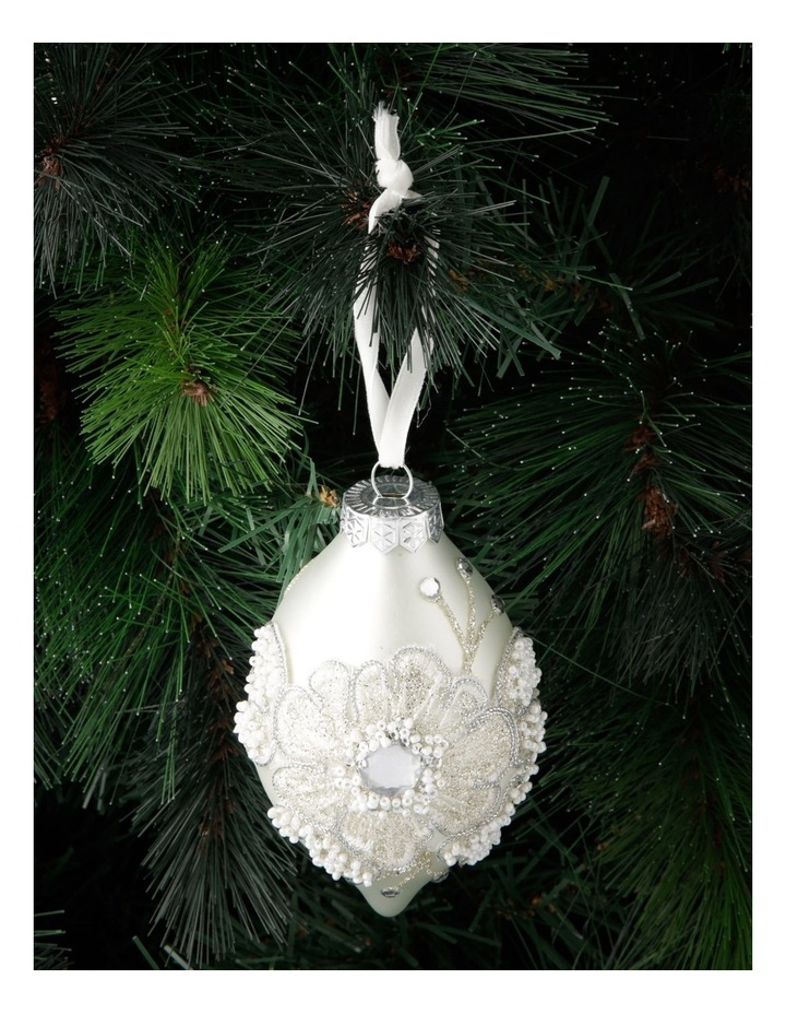 Luxe Glass Lace Flower Finial Hanging Ornament - White 10 cm image 3