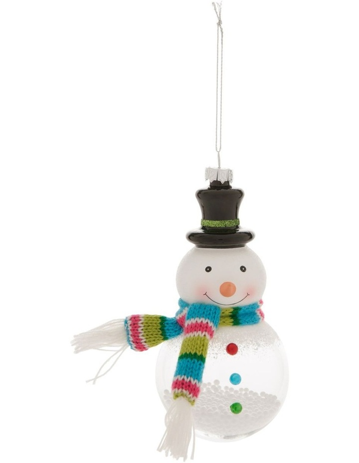 Merry & Bright Snowman with Scarf Hanging Ornament image 1