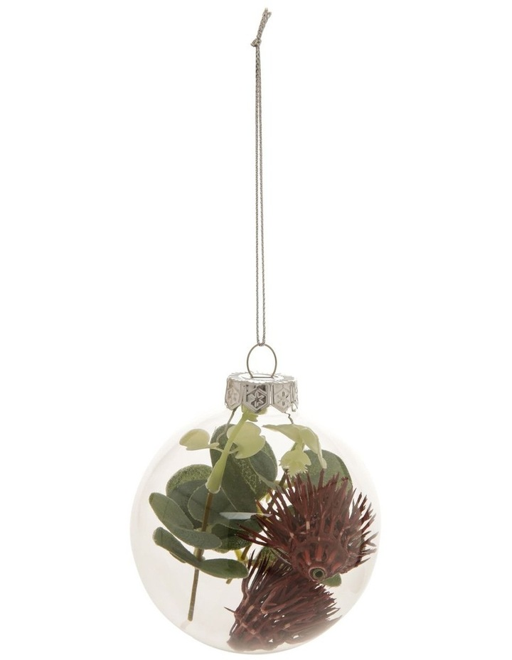 8cm Eucalyptus Glass Faux Flowering Gum-Nut Filled Bauble Ornament image 1