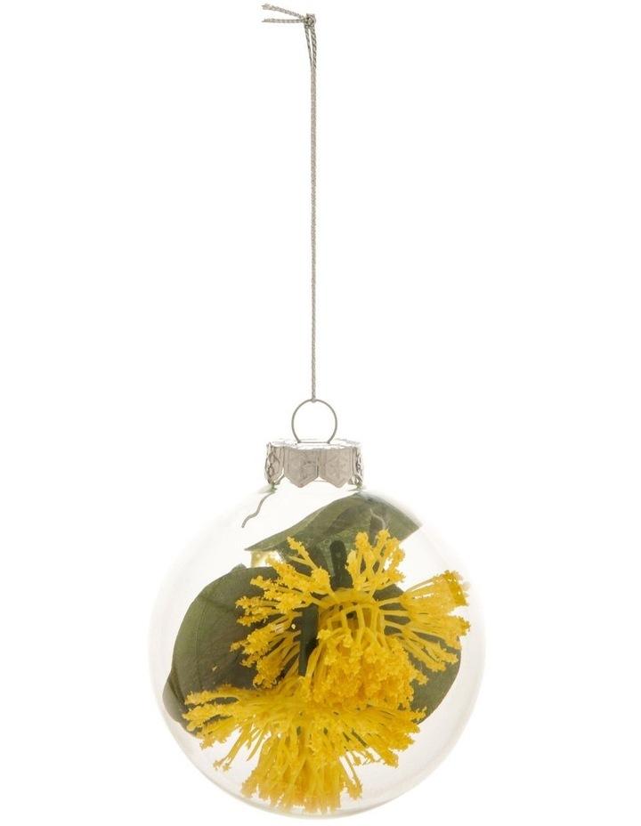 8cm Eucalyptus Glass Faux Myrtle Filled Bauble Ornament image 1
