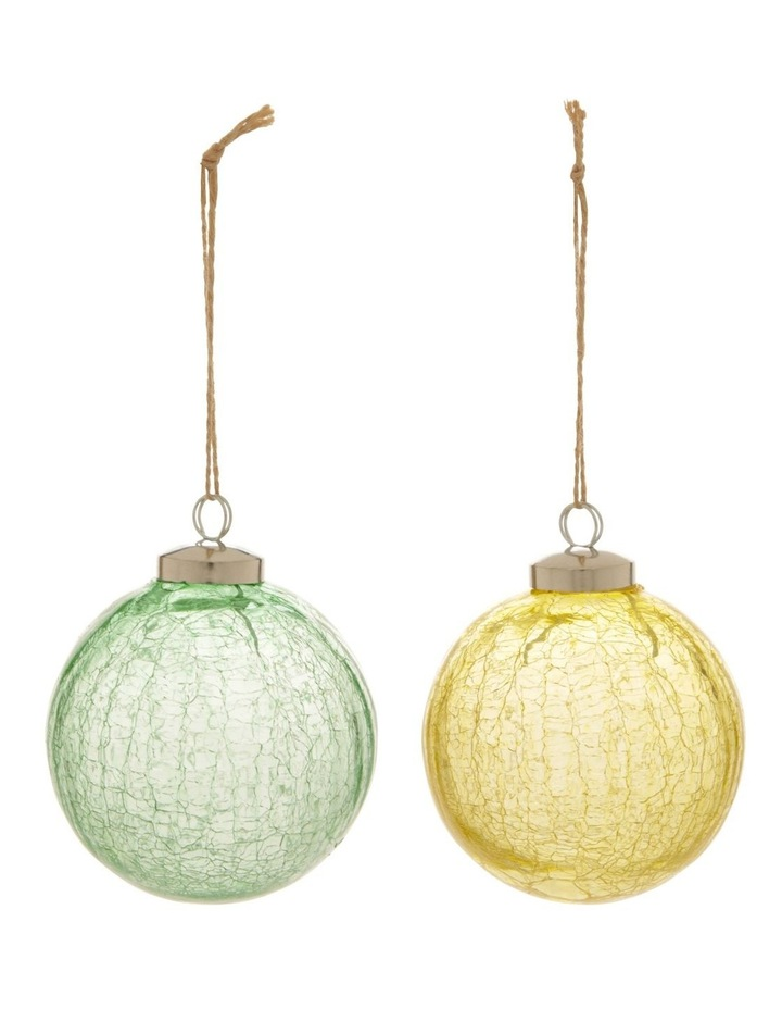 Assorted Eucalyptus Glass Crackled Bauble Ornament - 8cm image 1