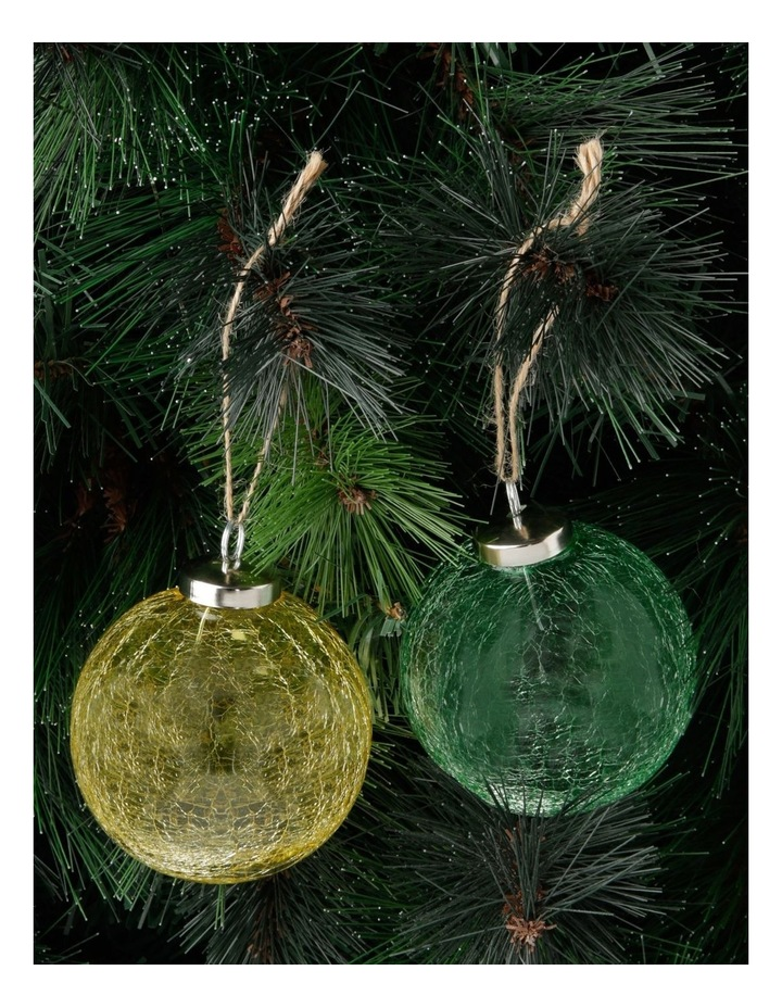 Assorted Eucalyptus Glass Crackled Bauble Ornament - 8cm image 3