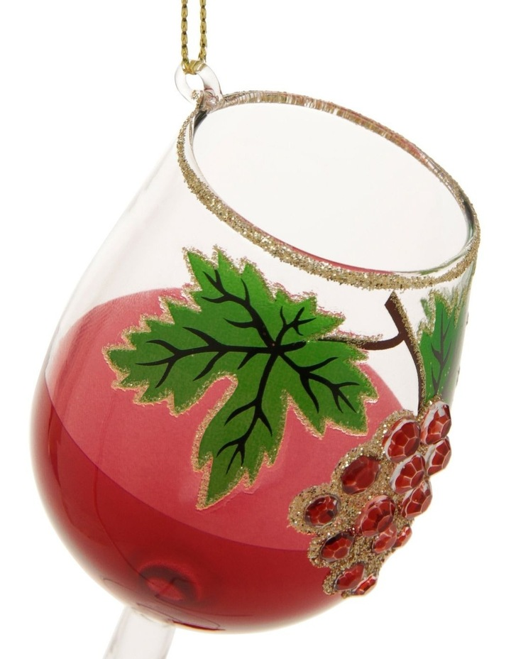 Heirloom Glass Pinot Noir Wine Hanging Ornament - Red 13 cm image 2