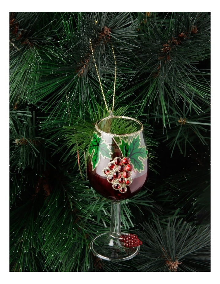 Heirloom Glass Pinot Noir Wine Hanging Ornament - Red 13 cm image 3