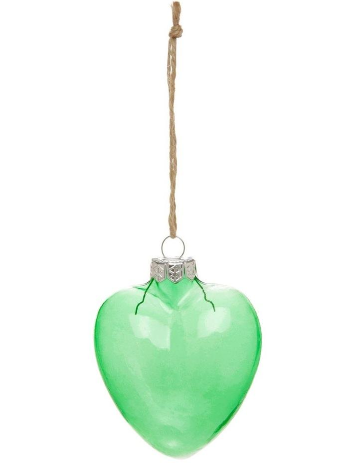 Eucalyptus Glass Heart Hanging Ornament - Green 7 cm image 1