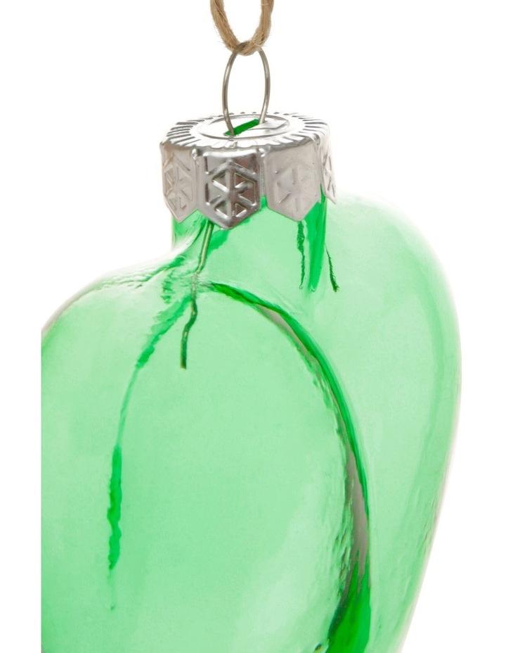 Eucalyptus Glass Heart Hanging Ornament - Green 7 cm image 2