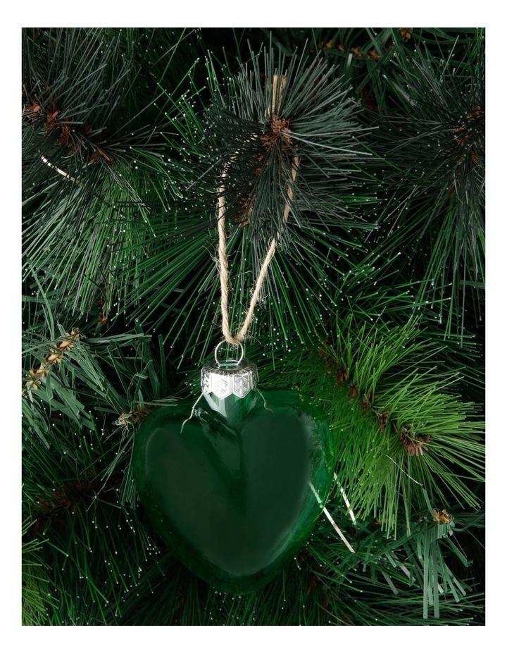 Eucalyptus Glass Heart Hanging Ornament - Green 7 cm image 3