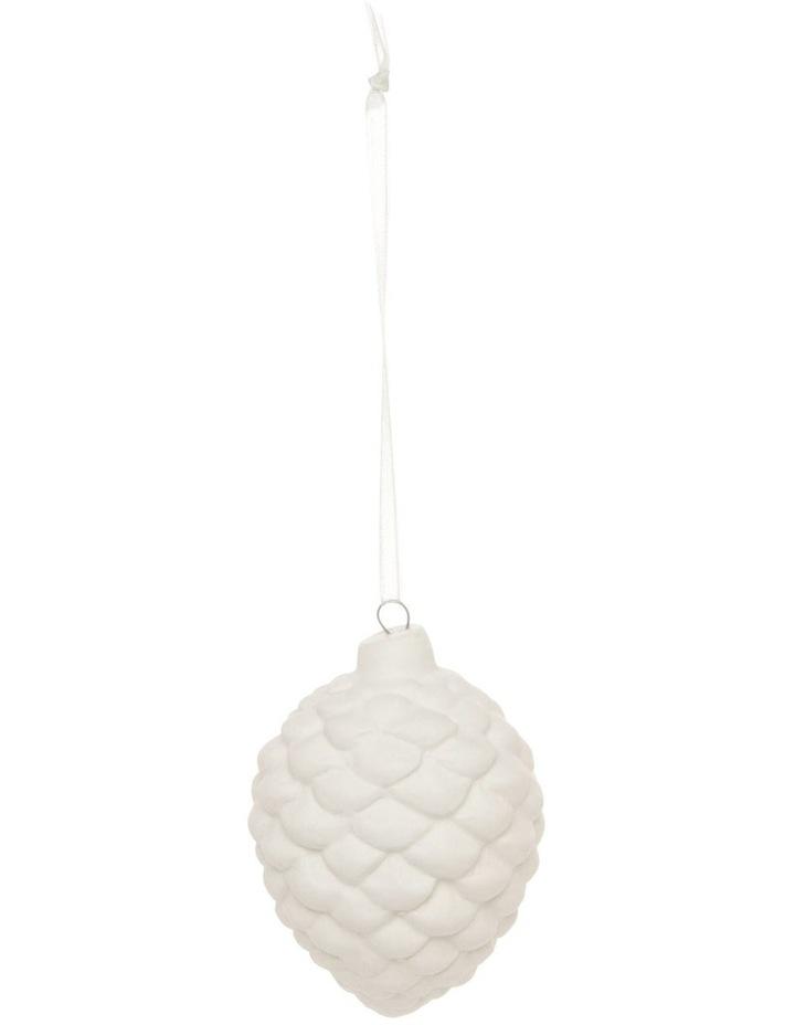 Eucalyptus Porcelain Pinecone Hanging Ornament - White 7 cm image 1