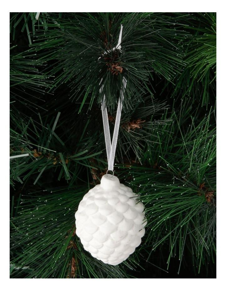 Eucalyptus Porcelain Pinecone Hanging Ornament - White 7 cm image 3