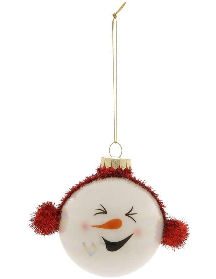 Merry & Bright Snowman Head Bauble with Earmuffs image 1