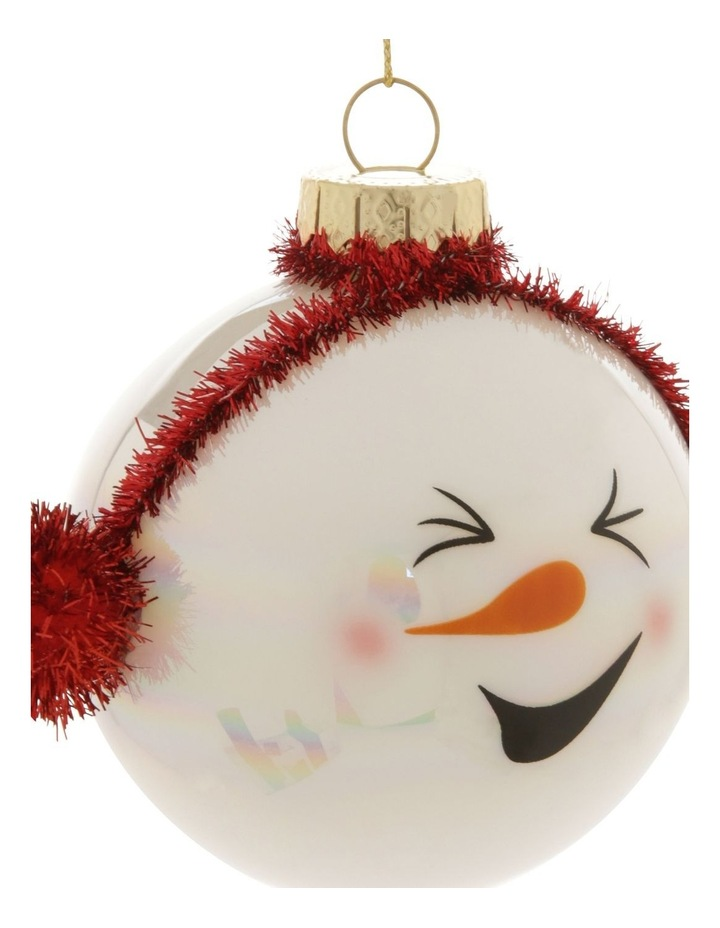 Merry & Bright Snowman Head Bauble with Earmuffs image 2