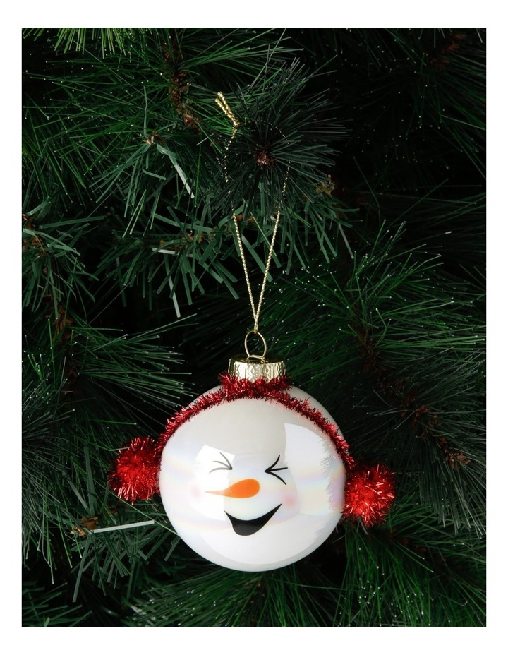 Merry & Bright Snowman Head Bauble with Earmuffs image 3