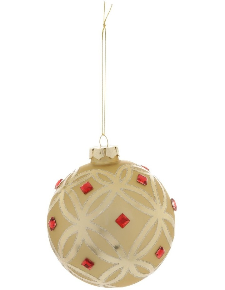 Heirloom Gold Deco Pattern Bauble with Red Jewels image 1