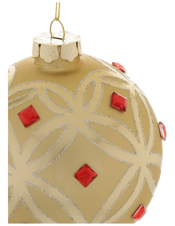 Heirloom Gold Deco Pattern Bauble with Red Jewels image 2