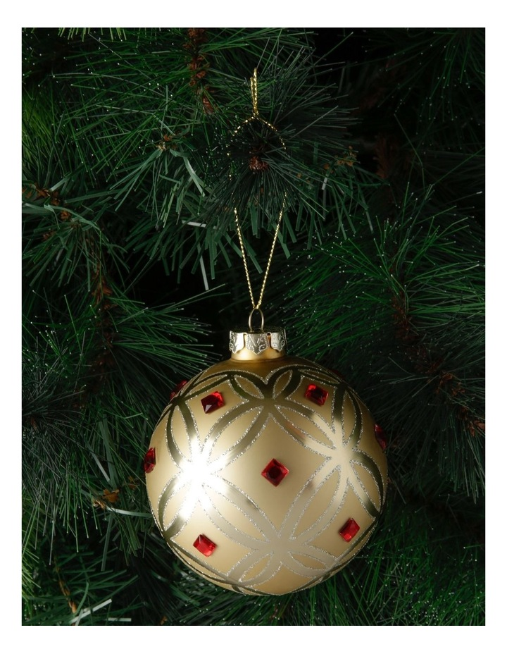 Heirloom Gold Deco Pattern Bauble with Red Jewels image 3
