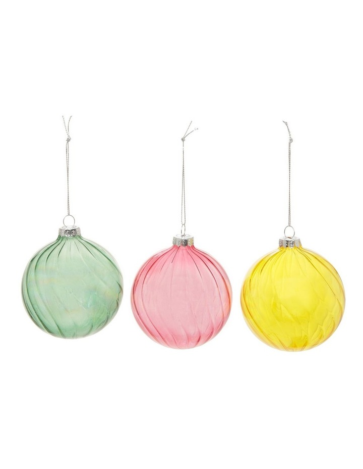 Eucalyptus Assorted Glass Swirled Bauble Ornament- Pink/Yellow/Green: 8 cm image 1