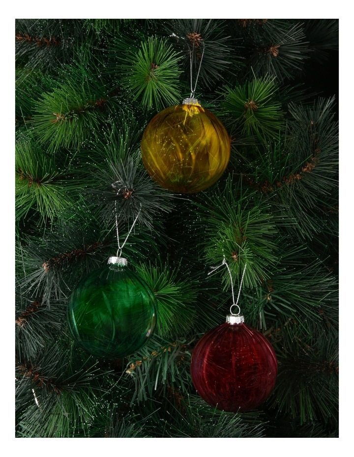 Eucalyptus Assorted Glass Swirled Bauble Ornament- Pink/Yellow/Green: 8 cm image 2