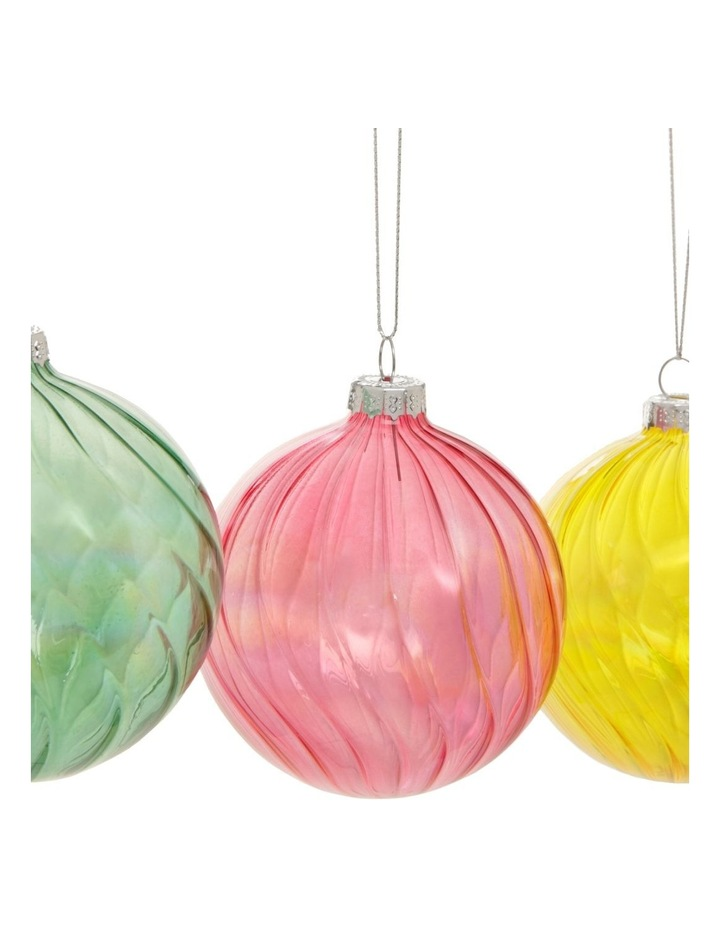 Eucalyptus Assorted Glass Swirled Bauble Ornament- Pink/Yellow/Green: 8 cm image 3