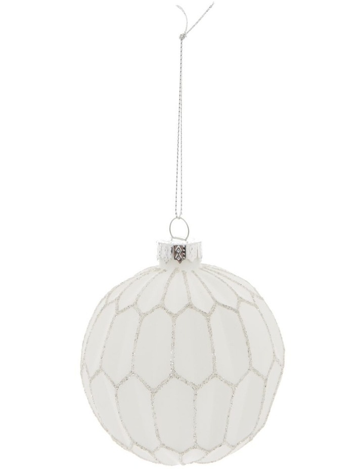 Luxe Glass Faceted Bauble Ornament- White: 8 cm image 1