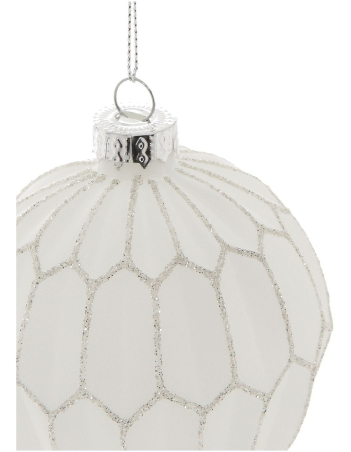 Luxe Glass Faceted Bauble Ornament- White: 8 cm image 2