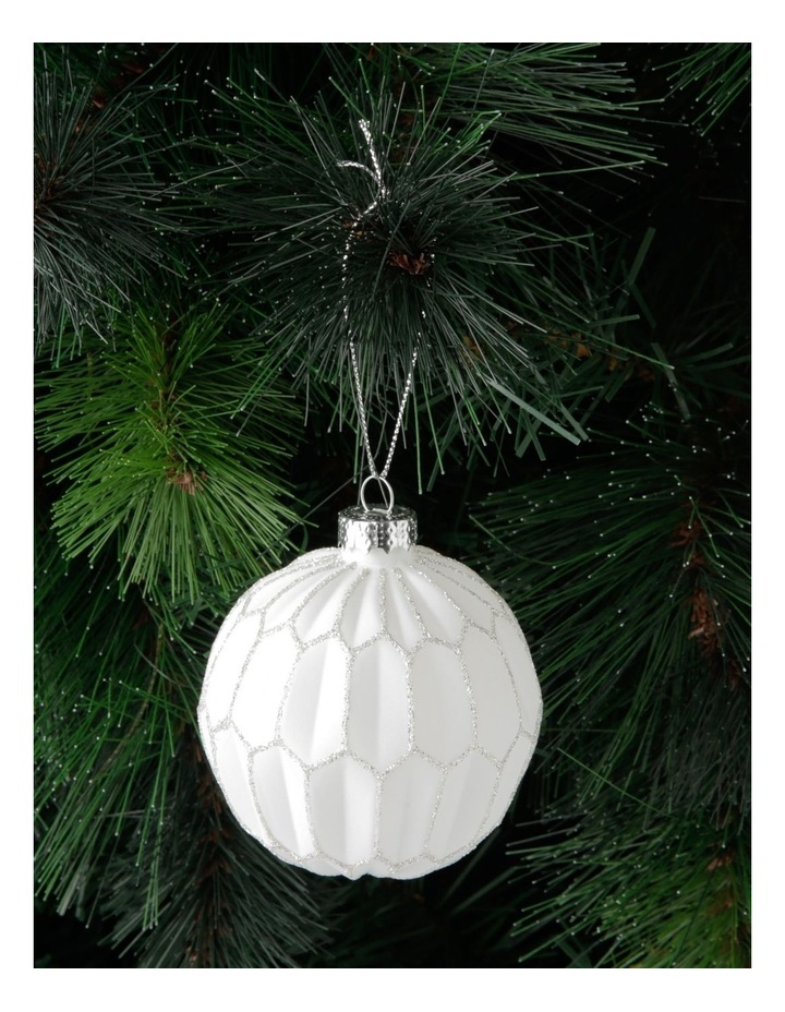 Luxe Glass Faceted Bauble Ornament- White: 8 cm image 3