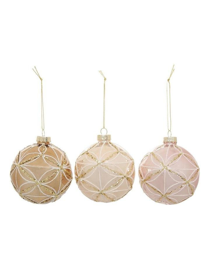 Luxe Glass Geometric Petal Bauble Ornament - Champagne: 8 cm image 1