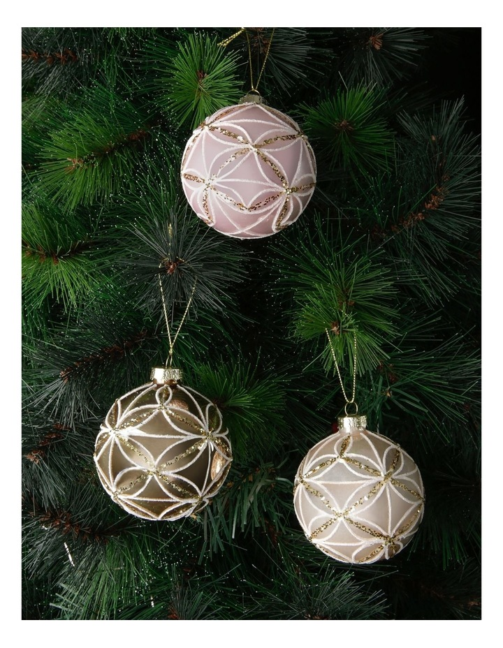 Luxe Glass Geometric Petal Bauble Ornament - Champagne: 8 cm image 2