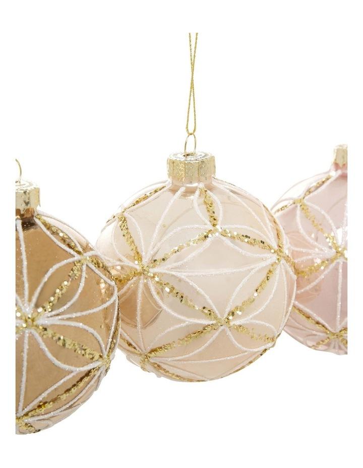 Luxe Glass Geometric Petal Bauble Ornament - Champagne: 8 cm image 3
