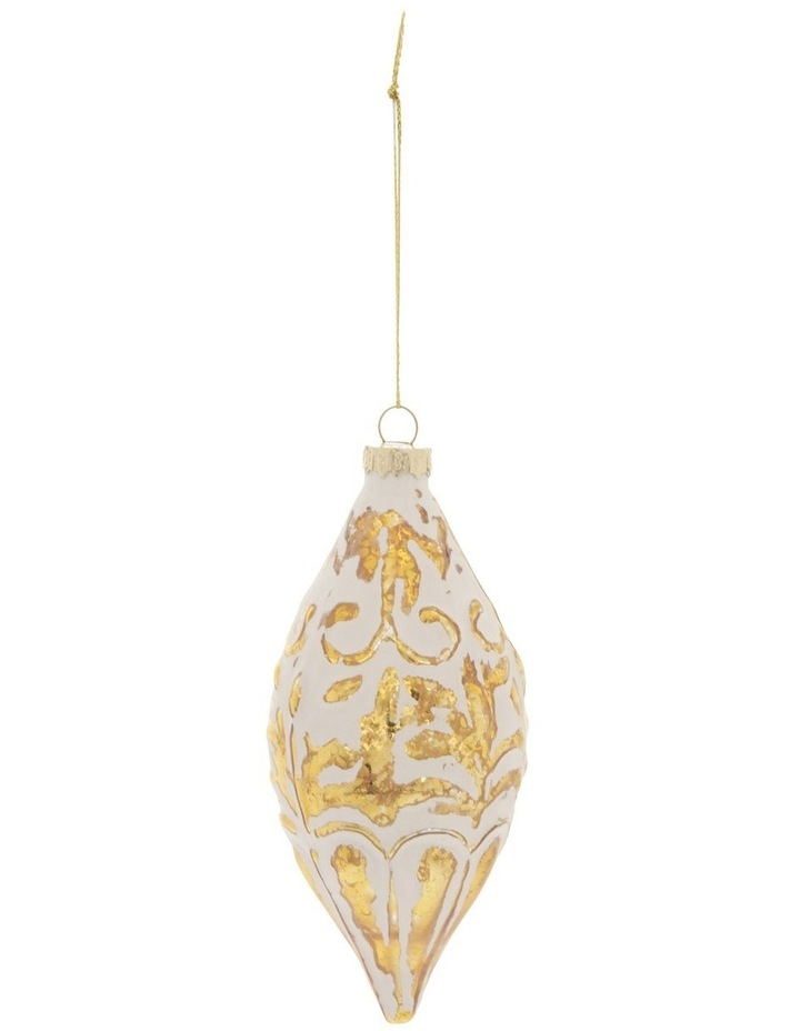 Heirloom Glass Mercurised Gold Embossed Hanging Ornament- White: 13 cm image 1