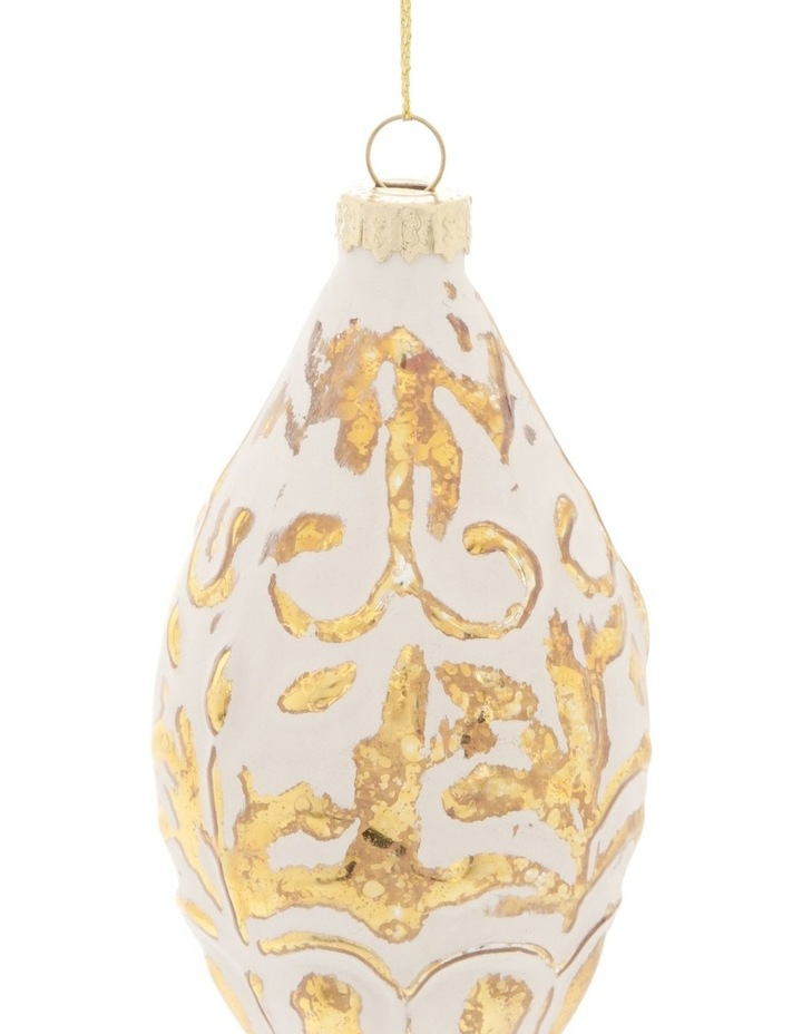 Heirloom Glass Mercurised Gold Embossed Hanging Ornament- White: 13 cm image 2