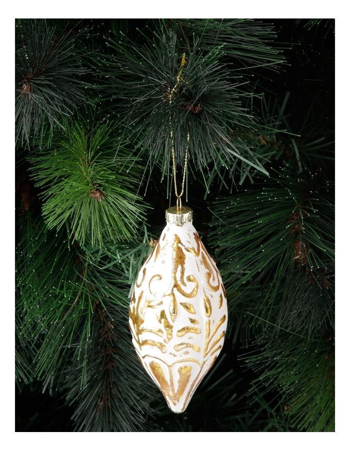 Heirloom Glass Mercurised Gold Embossed Hanging Ornament- White: 13 cm image 3