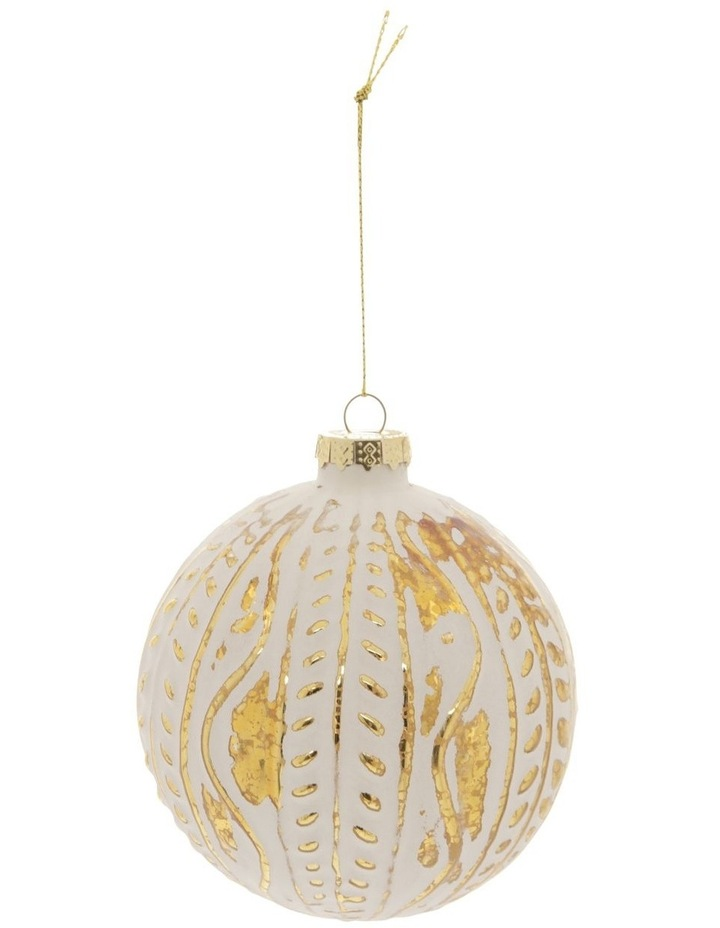 Heirloom Glass Mercurised Gold Embossed Bauble Ornament- White: 10 cm image 1