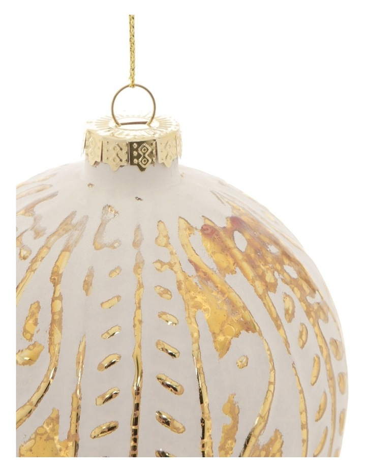 Heirloom Glass Mercurised Gold Embossed Bauble Ornament- White: 10 cm image 2