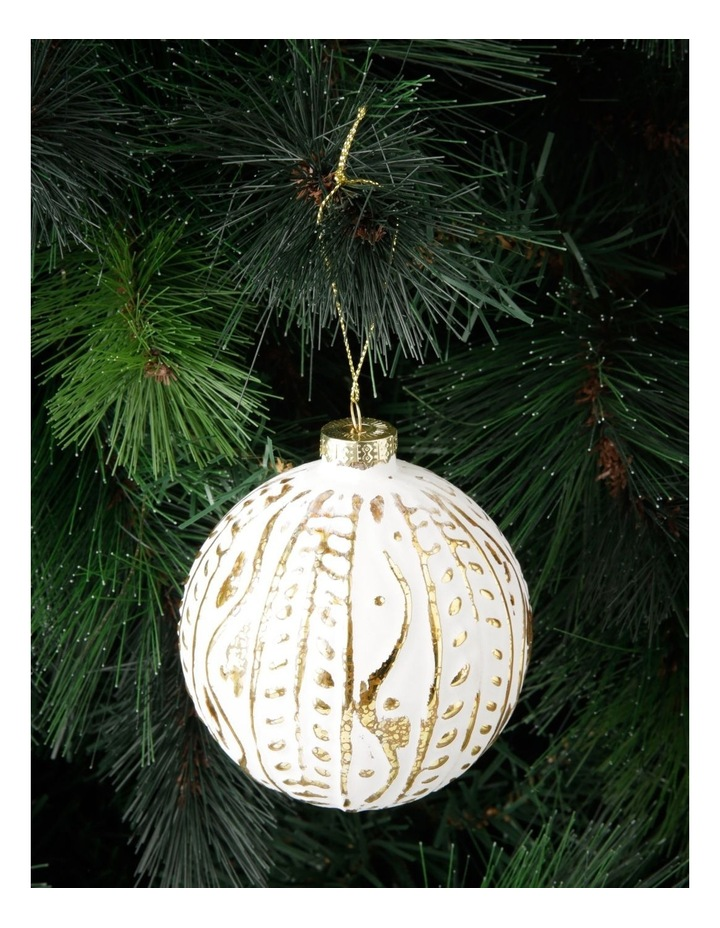 Heirloom Glass Mercurised Gold Embossed Bauble Ornament- White: 10 cm image 3