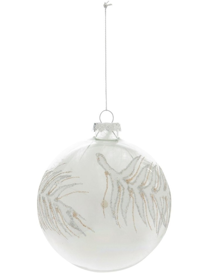 Luxe Silver Bead Faux Feather Filled Ornament image 1