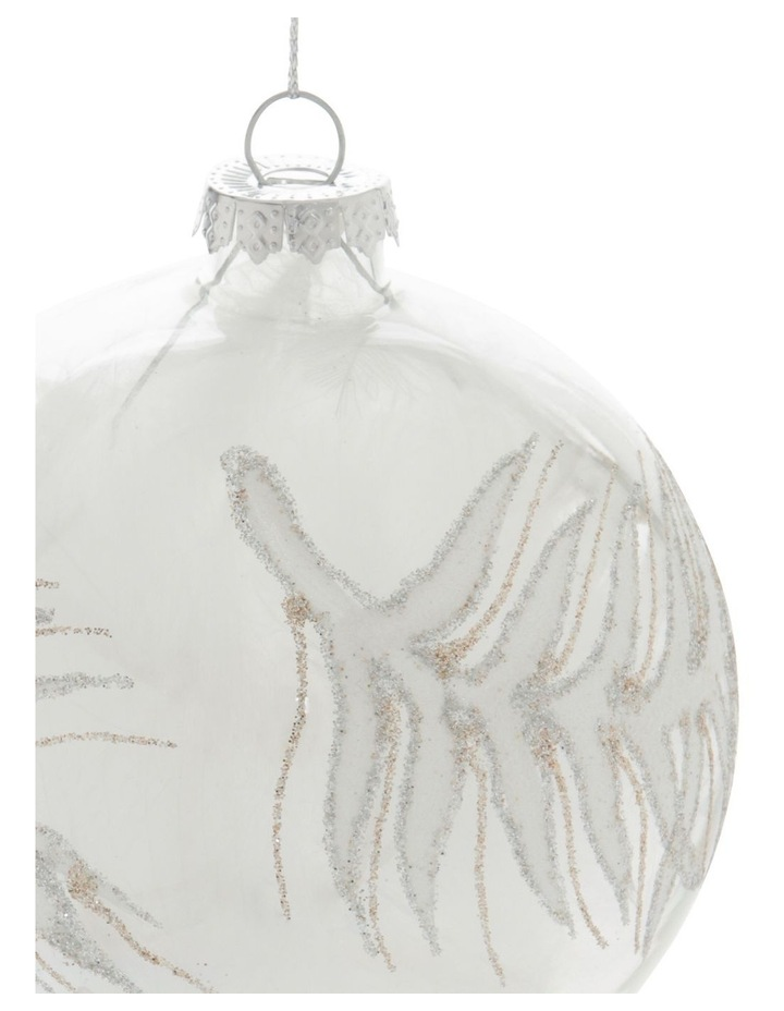 Luxe Silver Bead Faux Feather Filled Ornament image 2