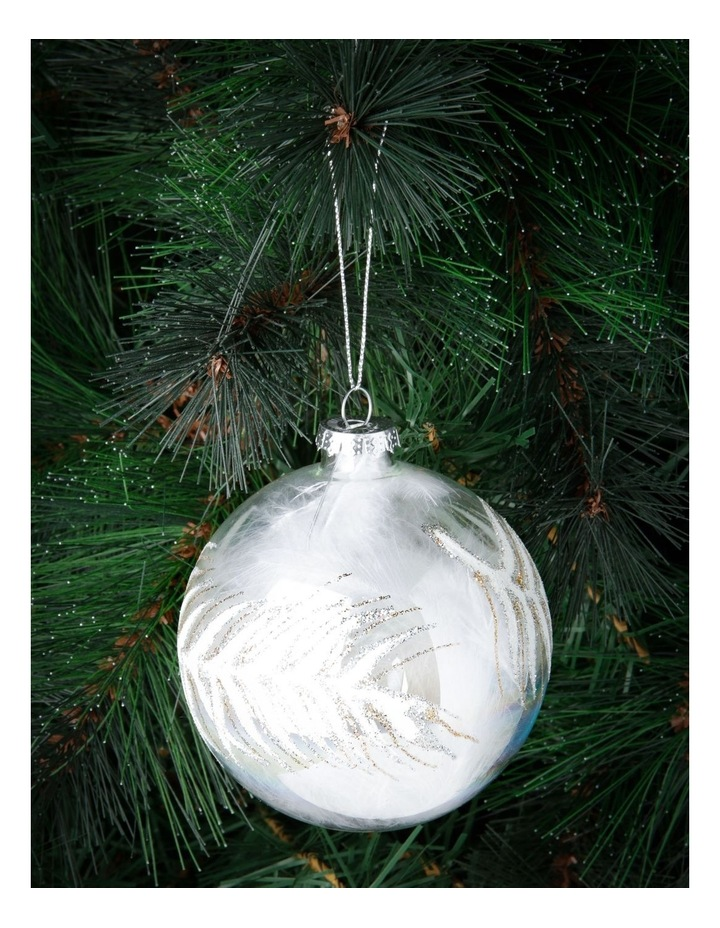 Luxe Silver Bead Faux Feather Filled Ornament image 3