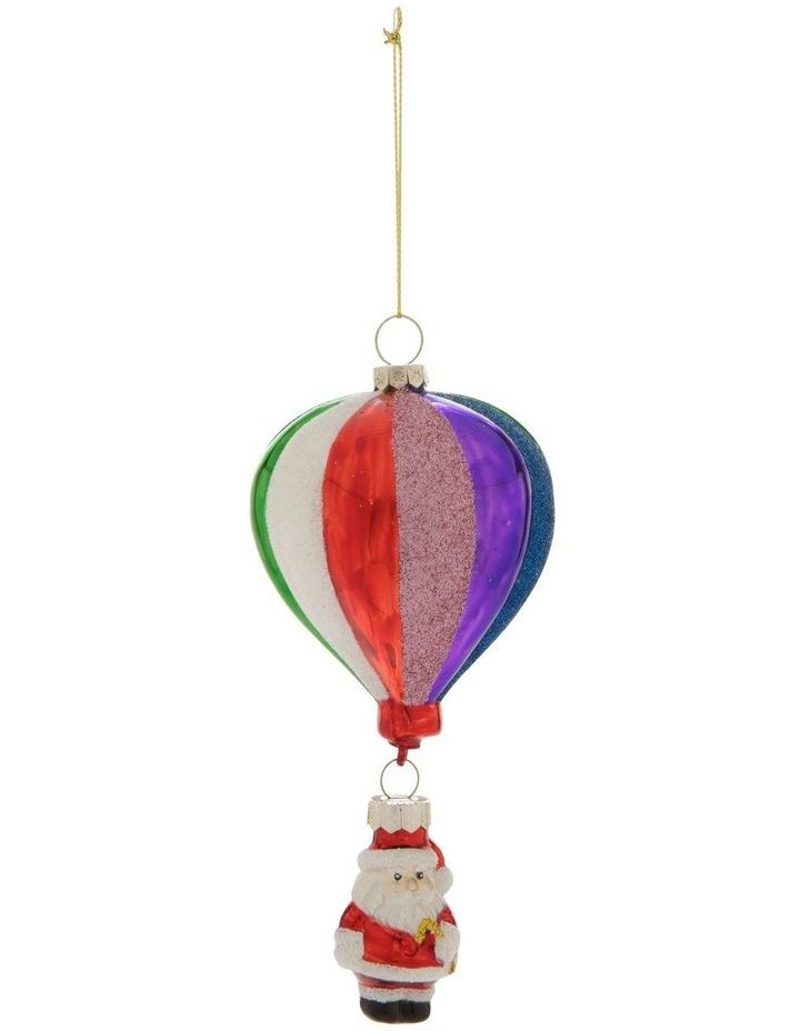 Merry & Bright Hot Air Balloon Santa Hanging Ornament image 1