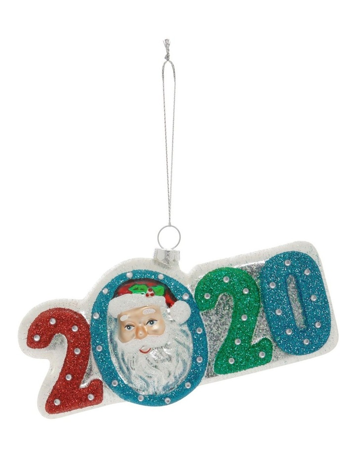 Merry & Bright Glass '2020' Santa Face Hanging Ornament image 1