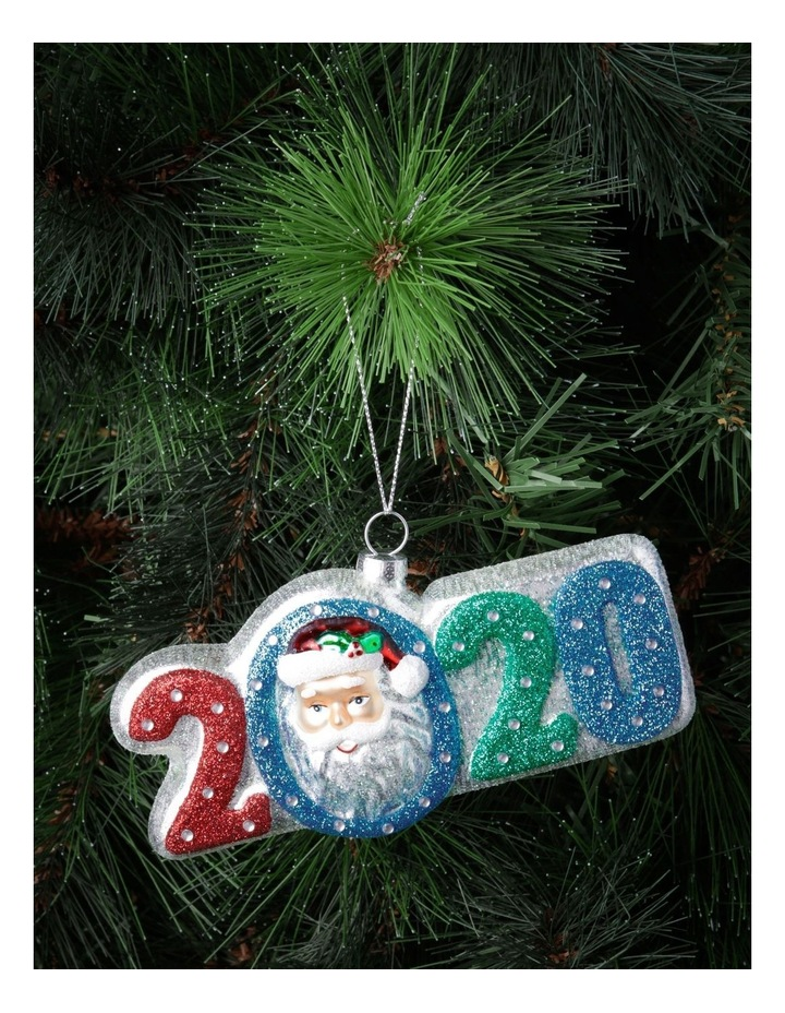 Merry & Bright Glass '2020' Santa Face Hanging Ornament image 2