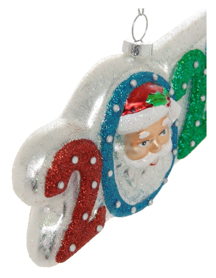 Merry & Bright Glass '2020' Santa Face Hanging Ornament image 3
