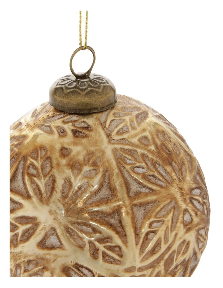Heirloom Gold Antiqued Embossed Snowflake Bauble image 2