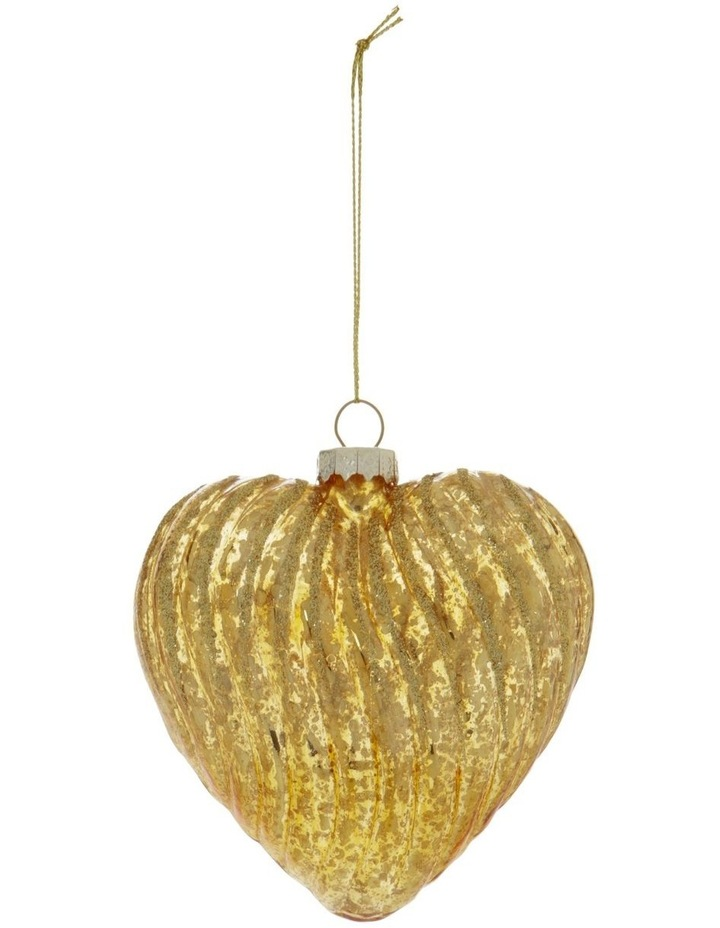 Heirloom Ribbed Glass Heart Hanging Ornament image 1