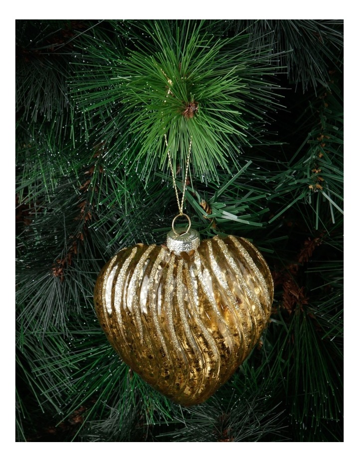 Heirloom Ribbed Glass Heart Hanging Ornament image 2